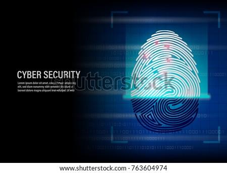 Cyber Security Concept : fingerprint scanning vector on digital background #763604974