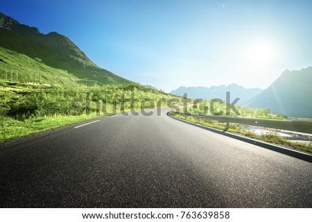summer road in mountain, Lofoten islands, Norway #763639858
