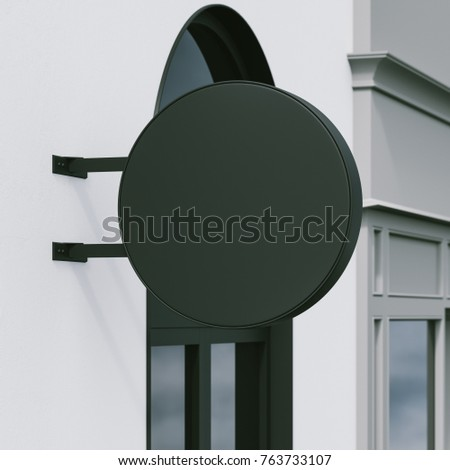 mockup of round hanging signboard on the street. 3d rendering #763733107