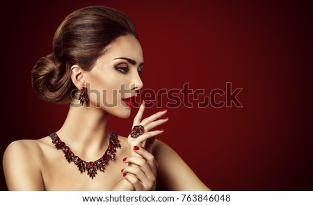 Fashion Model Red Stone Jewelry, Woman Retro Makeup and Red Gemstones Ring Earrings Necklace  #763846048