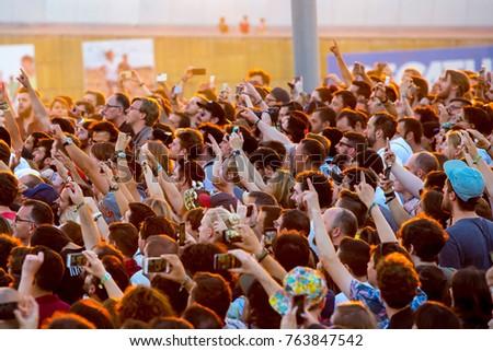 BARCELONA - JUN 1: People in a concert at Primavera Sound 2017 Festival on June 1, 2017 in Barcelona, Spain. #763847542