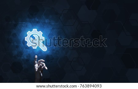 Close of human hand touching with finger setting glowing icon #763894093