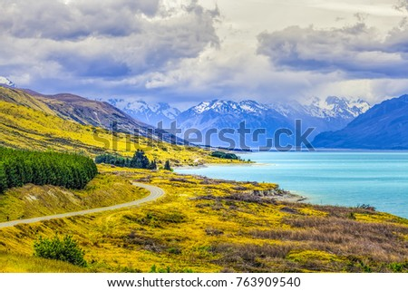 Glacier Lake Pukaki and Southern Alps, New Zealand #763909540