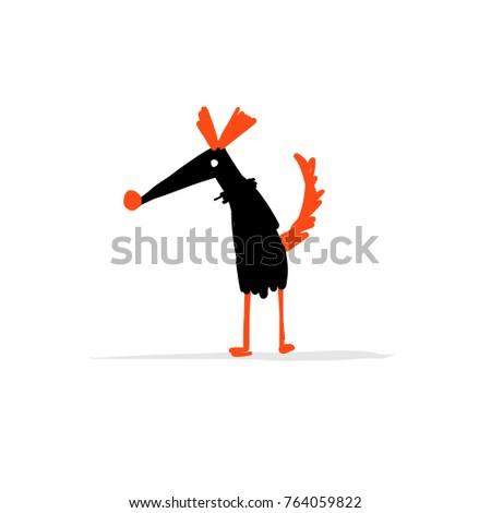 Funny dog, sketch for your design. Vector illustration #764059822