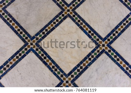 mosaic floor design pattern structure with clear geometric lines #764081119