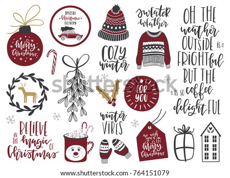 Collection of Scandinavian Merry Christmas And Happy New Year elements and lettering. Vector illustration.