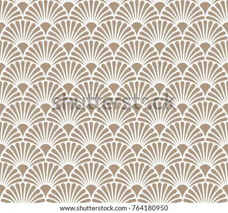 Japanese Ornamental Vector Background. Art Deco Circles Seamless Pattern. Geometric decorative texture. #764180950