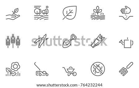 Set of Gardening Line Icons with Seeding, Flowers, Tools and more. Editable Stroke. 48x48 Pixel Perfect. Royalty-Free Stock Photo #764232244
