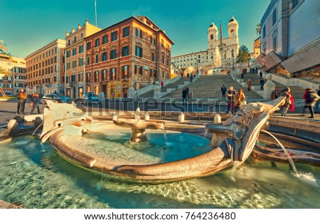 ROME, ITALY - DECEMBER 24, 2016:  tourists walking in Spanish Steps of Trinita de Monti square of Rome, Italy in DECEMBER 2016. the mild climate makes the Rome a perfect destination for Christmas #764236480
