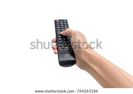 Hand pressing remote control isolated on white background Royalty-Free Stock Photo #764263186