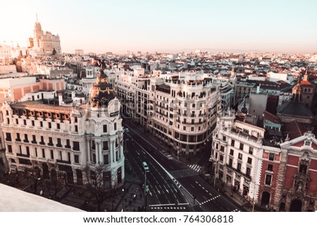 Metropolis building in Gran Via. Madrid at sunset (7th January 2017. Madrid, Spain) #764306818