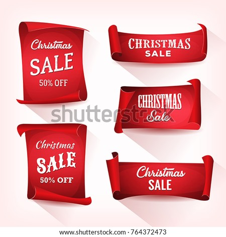 Christmas Sale On Parchment Scroll Set/ Illustration of a set of christmas sale on red parchment scroll, for winter holidays #764372473