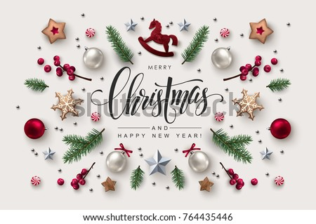 Christmas postcard with Calligraphic Season Wishes and Composition of Festive Elements such as Cookies, Candies, Berries, Christmas Tree Decorations. #764435446