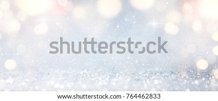 Blurred bokeh light background, Christmas and New Year holidays background #764462833