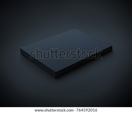 Black flat cardboard box isolated on black backgroun with clipping path #764592016