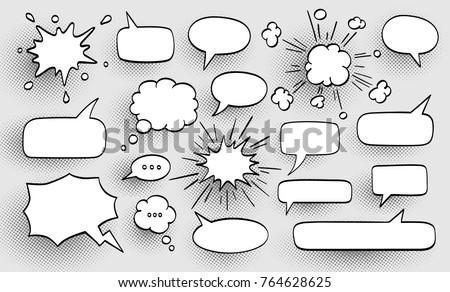 Set of speech bubbles. Halftone shadows. Vector illustration Royalty-Free Stock Photo #764628625