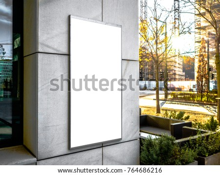 Mock up. Outdoor advertising, blank billboard outdoors, public information board on the wall, Signboard side view of empty white with shadow mock up signage.
