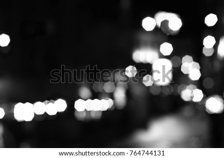 blurred city lights black and white #764744131