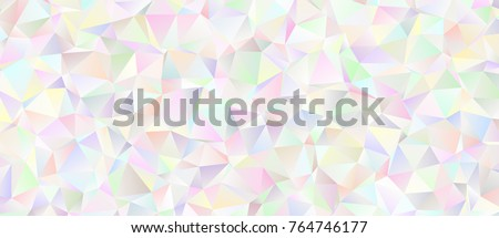 Iridescent Low Poly Background. White to Pastel Rainbow. Multicolored Icy Shiny Crystal Texture. Mother-of-pearl Opalescent Sparkling Facets. Vector Graphic for Web, Mobile Interfaces or Print Design.