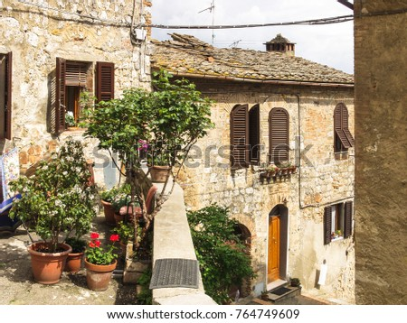 Houses at San Gimignano, Tuscany in the province Siena, Italy #764749609