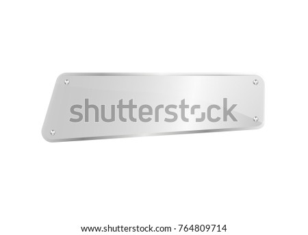 Blank glass nameplate isolated icon. Glassy signage template, clear acrylic signboard design element vector illustration. #764809714
