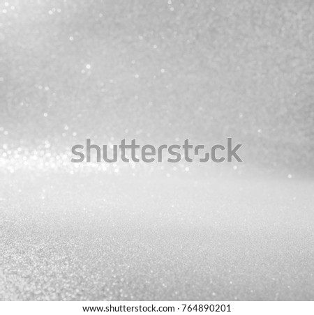 silver and white abstract glitter background with bokeh defocused lights christmas #764890201