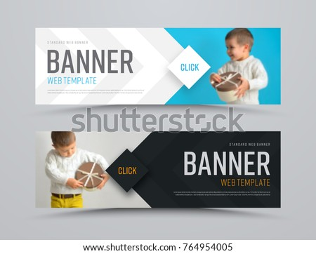Templates of black and white vector horizontal web banners with arrows and a place for a photo. Minimalist design. Set. Blurred image for example Royalty-Free Stock Photo #764954005