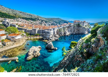 Aerial panoramic view at famous european travel destination, Dubrovnik cityscape on Adriatic Coast, Croatia. / Selective focus. #764972821