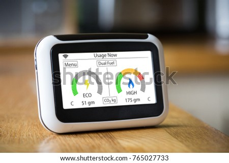 Domestic Energy Smart Meter on a Kitchen Worktop Displaying Electric and Gas Carbon Emissions in Real Time #765027733