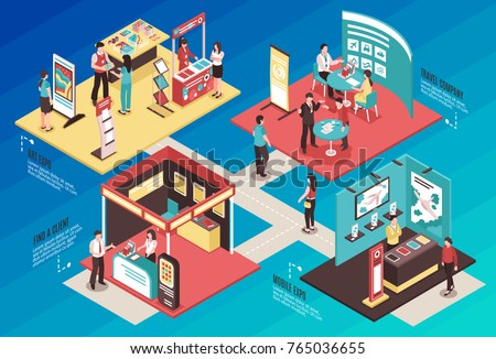 Isometric expo stand exhibition horizontal composition with text and images of different exhibit booths with people vector illustration Royalty-Free Stock Photo #765036655