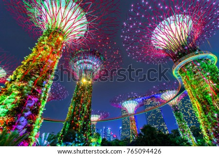 Singapore, Singapore - October 16, 2017: Supertree Grove in Gardens by The Bay at night, Singapore #765094426