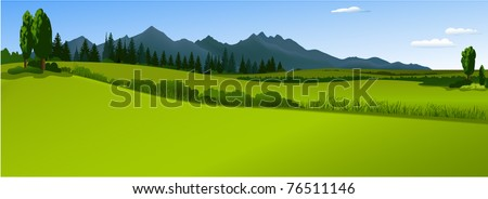Green landscape with mountains #76511146