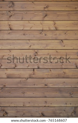 The texture of weathered wooden wall. Aged wooden plank fence of horizontal flat boards #765168607