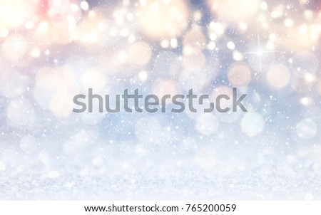 Blurred bokeh light background, Christmas and New Year holidays background #765200059