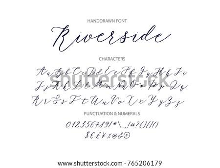 Riverside - handwritten Script font. Hand drawn brush style modern calligraphy cursive typeface. Vector Brush type set. Royalty-Free Stock Photo #765206179