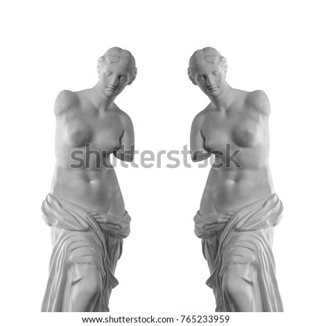 Venus statue on a black background