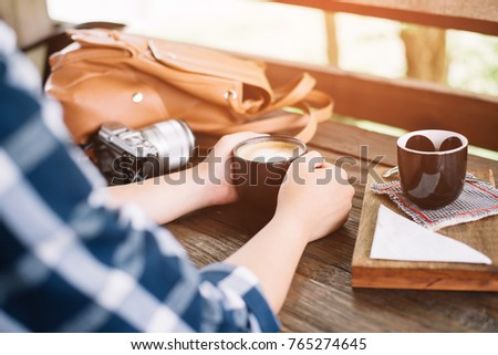 Lifestyle, vacation, education and people concept. Young hipster girl have a tea time outdoor #765274645