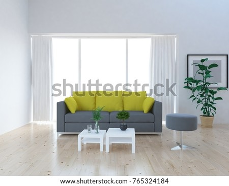 White scandinavian room interior with grey and yellow sofa. Home interior. 3d illustration #765324184