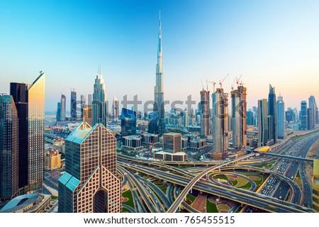 Amazing Dubai skyline with luxury city center, Dubai, United Arab Emirates Royalty-Free Stock Photo #765455515