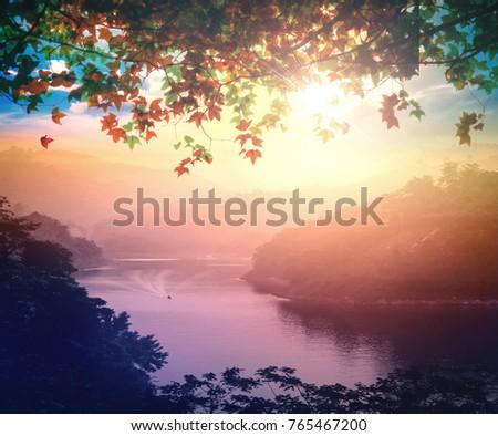 Earth day concept: Mountain river scene at sunset background. Bang Lang Reservoir at Bethong, Yala, Thailand, Asia #765467200