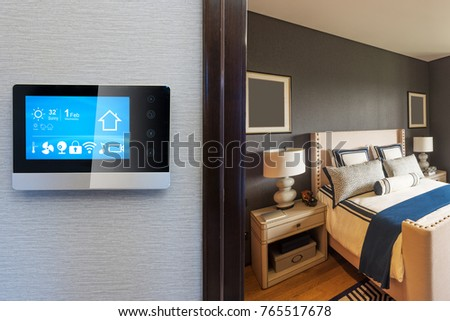 smart screen with smart home and modern bedroom #765517678