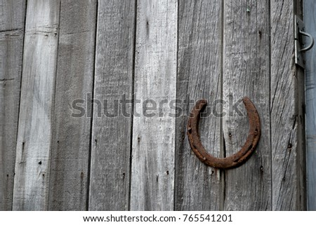 Old shed details with an old rusty horseshoe to use to open door #765541201
