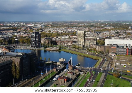 panorama of the city of Rotterdam, view from the Euomast Tower, The Netherlands, November 6, 2017 #765581935