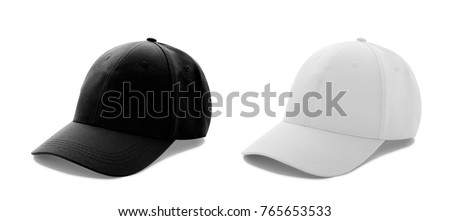 Baseball cap white and black templates, front views isolated on white background. Mock up. #765653533