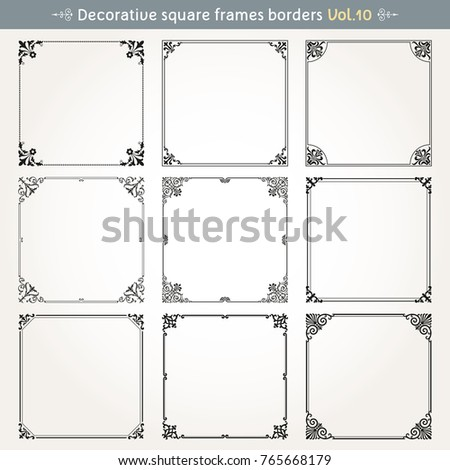 Decorative square frames borders backgrounds design elements set 10 vector #765668179