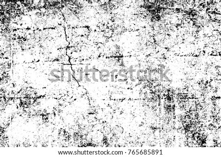 Grunge black and white pattern. Monochrome particles abstract texture. Background of cracks, scuffs, chips, stains, ink spots, lines. Dark design background surface. Gray printing element #765685891