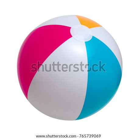 Beach ball isolated on a white background Royalty-Free Stock Photo #765739069