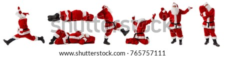 Santa Claus in full growth. Santa Claus isolated on white. Collection. Set. #765757111