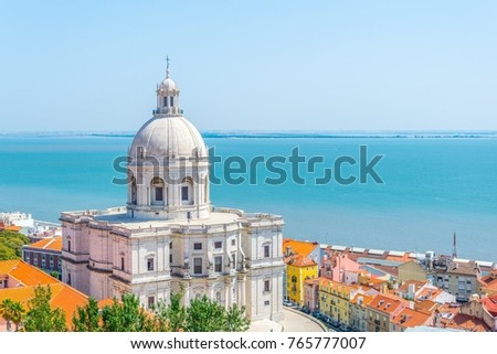 Aerial view of the national pantheon in Lisbon, Portugal Royalty-Free Stock Photo #765777007