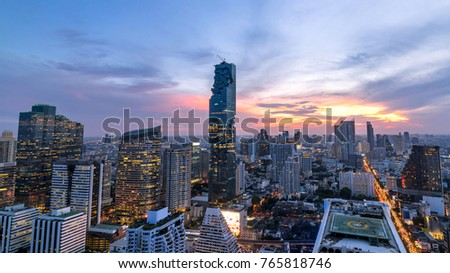 beautiful sunset cityscape of Bangkok city downtown at night  , landscape Thailand #765818746